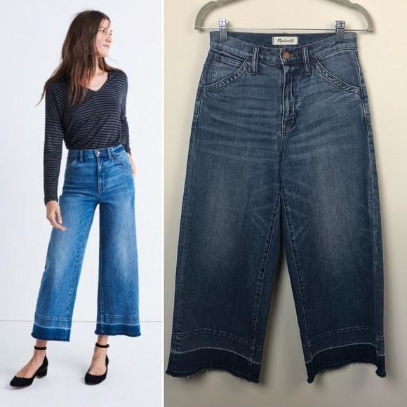16614a8574180 Madewell Denim - Madewell wide-leg crop jeans  drop-hem edition